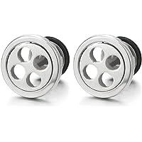 iMECTALII 2pcs Stainless Steel Button Stud Earrings for Men Women Boys, Screw Back, Rock Punk