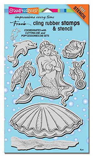 STAMPENDOUS CRS5088 Cling Rubber Stamp Set, Mermaid with Template