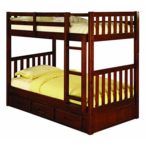 Discovery World Furniture Twin over Twin Bunk Bed with 3 Drawer Storage, Merlot