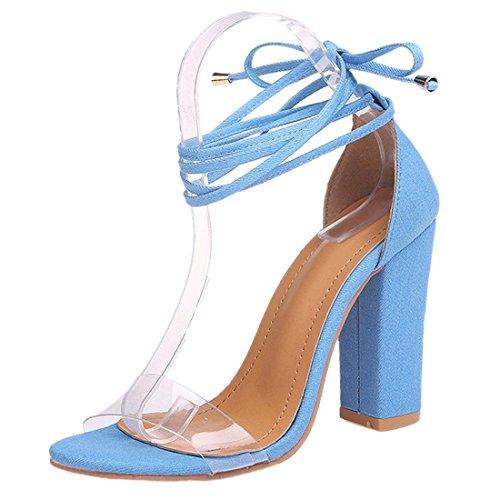 Cheville Sandales Talons Lacets Femmes Bleu QIYUN À pour Transparents À À Hauts Z Chaussures Talons q77wUI0