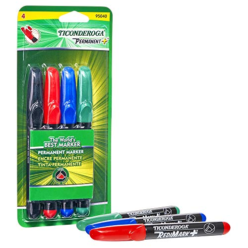 (TICONDEROGA RediMark Plus Low Odor Permanent Markers, Chisel Tip, Set of 4 Markers, Red/Black/Green/Blue (95040))