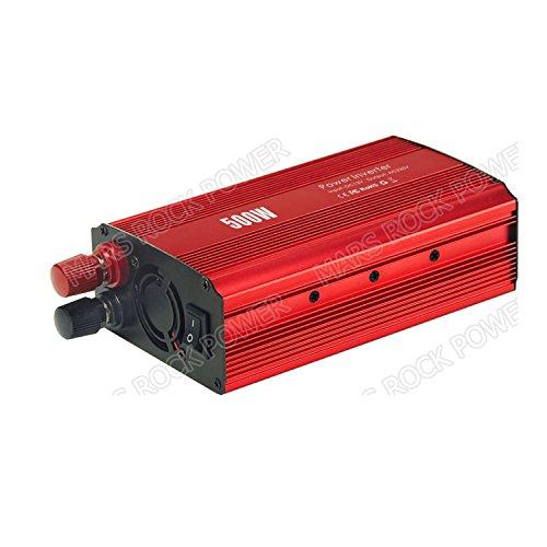 MarsRock 12V DC to AC 110V or 220V 500W Inverter Application in Car for Charging Phones, Sparker, Cameras (Red AC110Volt 60Hz) by MarsRock
