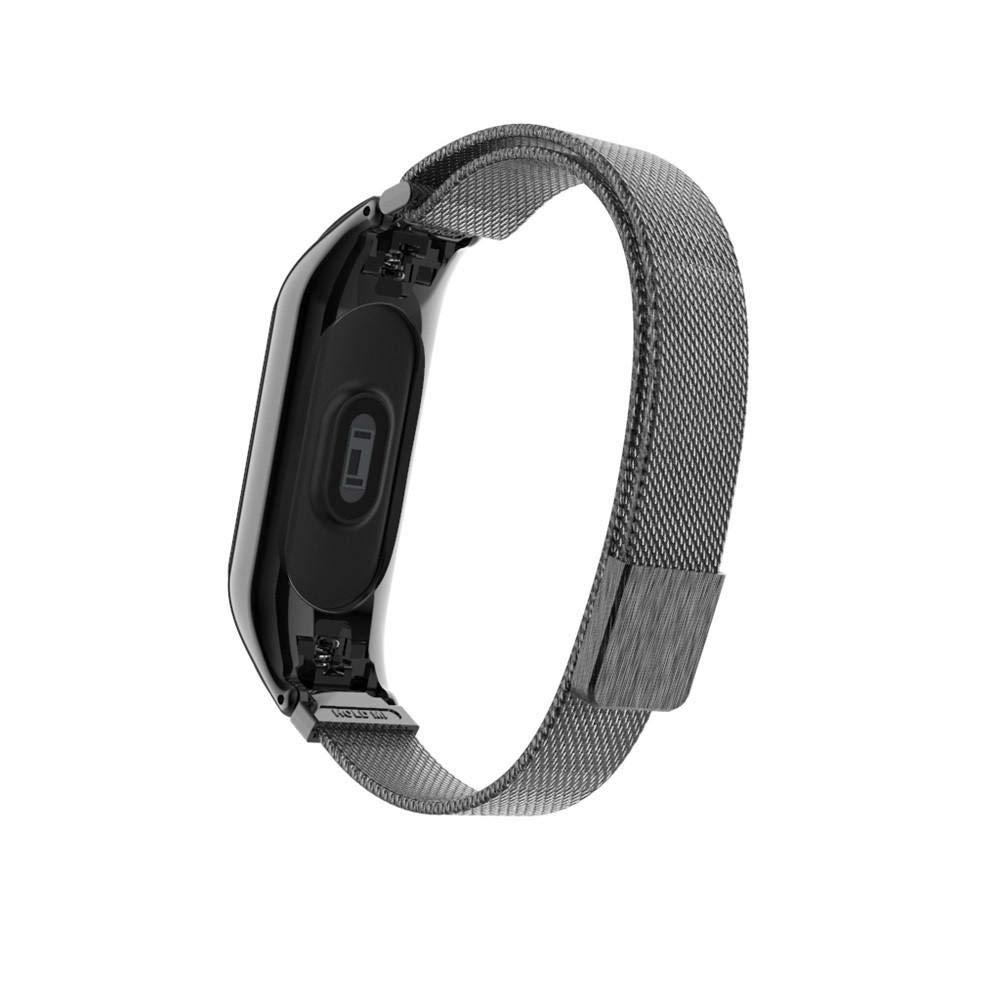 JiaMeng para Xiaomi MI Banda 3, Correa magnética milanesa de la Venda del Reloj del Acero Inoxidable del Lazo para Xiaomi Mi Band (Negro,tamaño Libre): ...