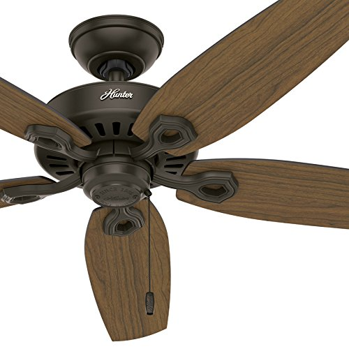 Hunter Fan 52 in. Outdoor Ceiling Fan in New Bronze with 5 Stained Oak Fan Blades (Certified Refurbished) (5 Blade New Bronze Patio)