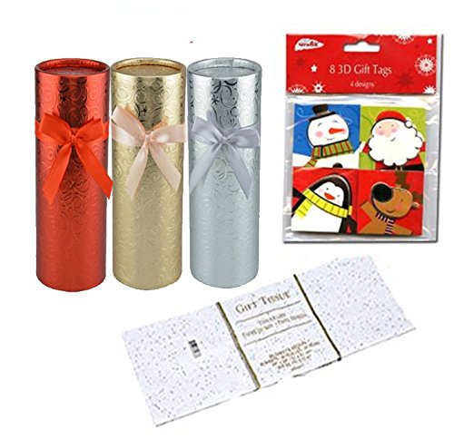 Round Foil-Wrapped Gift Boxes with Slide-on Lids (Set of 3) Plus Bonus Christmas Gift Tags 3d 8pk & Sequin Sparkle Tissue Paper, 20-sheet Pack! (Tags Sequins)