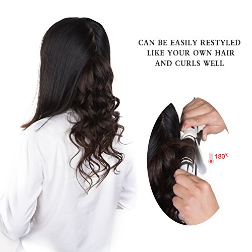 18'' Clip in Hair Extensions Remy Human Hair for Women - Silky Straight Human Hair Clip in Extensions 60grams 4pieces Off Black #1B Color by Winsky (Image #3)