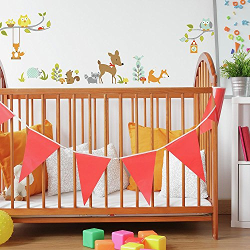 RoomMates RMK2768SCS Woodland Fox & Friends Peel & Stick Wall Decals, ()