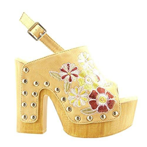Angkorly - Scarpe da Moda zoccoli sandali zeppe donna fiori ricamo borchiati Tacco a blocco tacco alto 13 CM - Cammello