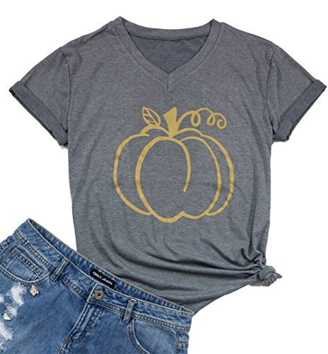 9623e1979ba Thanksgiving Pumpkin Funny T-Shirt Women Short Sleeve V-Neck Casual Tee Tops