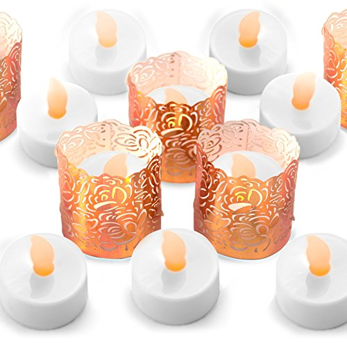 FLAMELESS TEA LIGHT SET 24 Flickering LED Battery Tealight Candles With Copper Decorative Votive Wraps Included From Frux Home and (Decorative Votive Candles)