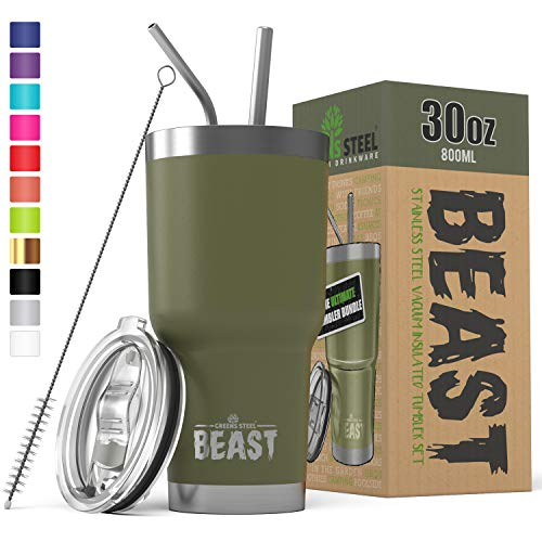 (BEAST 30 oz Tumbler Stainless Steel Insulated Coffee Cup with Lid, 2 Straws, Brush & Gift Box by Greens Steel (30 oz, Army Green))