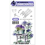 Art Impressions Watercolor Cling Rubber Stamp Mini Wooden Chair