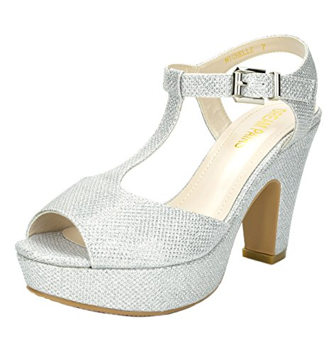 Dream Pairs Women's Michelle Silver Mid Heel Platform Pump Sandals - 10 M US