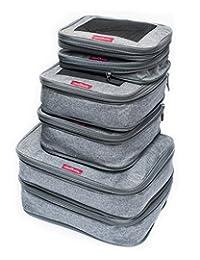 LeanTravel - Juego de 6 cubos de compresión, organizadores de viaje para equipaje (Gris)