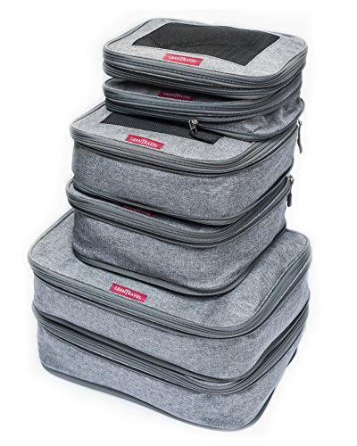 LeanTravel Compression Packing Cubes Luggage Organizers for Travel w/Double Zipper (6) Set - Color Grey