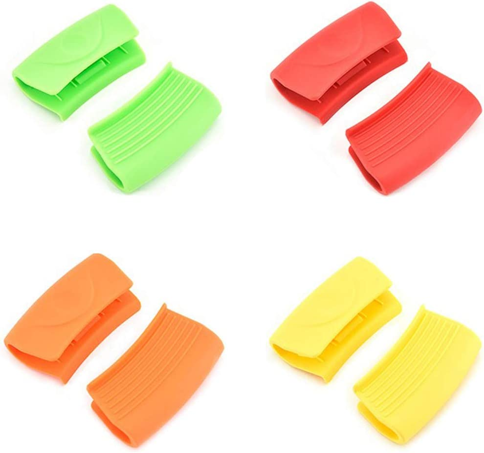 Gurxi Pellizco Resistente al Calor Mini Horno Agarradera de Silicona Mini Agarraderas de Silicona Resistentes al Calor para Cocinas para la Cocina Doméstica 4 Pares (Verde Naranja Rojo Amarillo)