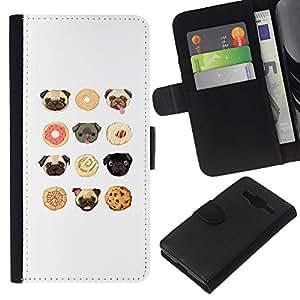 EJOY---Funda tipo cartera de piel sintética Samsung Galaxy Core Prime // caso ---cookie horri cachorra blanco lindo patrón