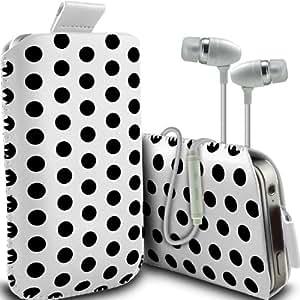 Samsung Galaxy Ace 3 S7270 Protección Premium Polka PU ficha de extracción Slip Cord En Pouch Pocket cubierta de la caja de liberación rápida y de calidad superior de la piel en auriculares de botón estéreo de manos libres de auriculares Auriculares con micrófono Mic y On-Off Botón Blanco y Negro por Spyrox