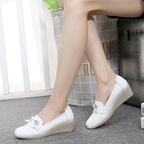 SSBY Enfermera Zapatos Cuñas Dichotomanthes Inferior Con Fondos Blandos Solo Los Zapatos Zapatos De Cuero Zapatos De Trabajo Asakuchi -. white