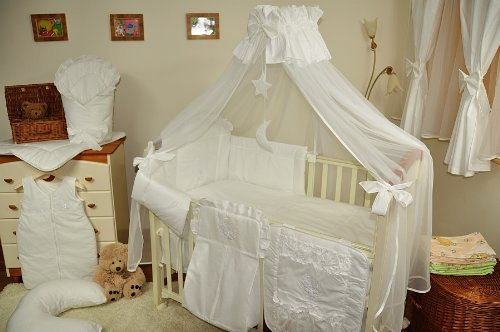 Luxury Baby Cot Bed Crown Canopy//Mosquito Net 480 cm White Clamp Holder//Rod//Stand Moon