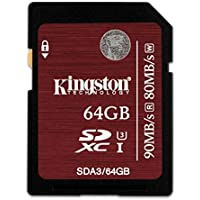 Kingston Digital 64GB SDXC UHS-I Speed Class 3 Flash Card (SDA3/64GB)
