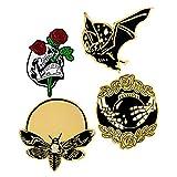 4pcs Enamel Lapel Pin Set, Punk Gothic Skull Rose Bat Cartoon Badge Brooches