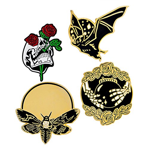 4pcs Enamel Lapel Pin Set, Punk Gothic Skull Rose Bat Cartoon Badge Brooches