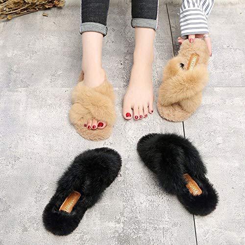 Nero Pantofole Interno colore Nero 39 Donna Ciabatte Da Dimensioni Lxf Calde Antiscivolo Con Aperte TgvgqR