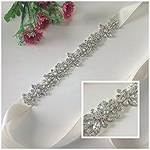TRLYC Blush Bridal/Wedding Sash Crystal Bridal Belt Crystal Rhinestone Applique