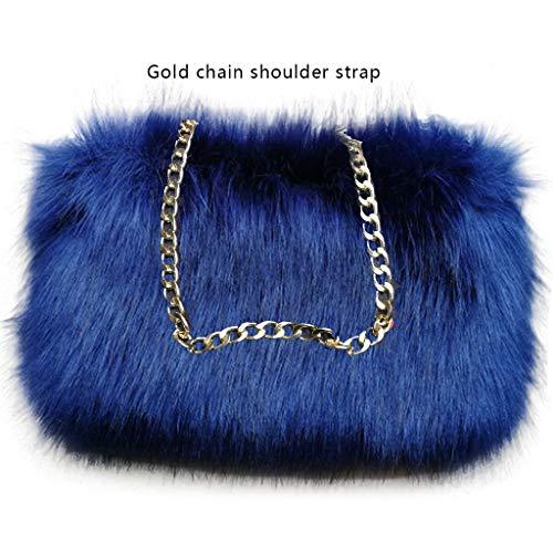 FHQHTH Faux Fur Purse Fuzzy Shoulder Bags Handbag For Women Purse Aluminum Chain Shoulder Strap [Navy -