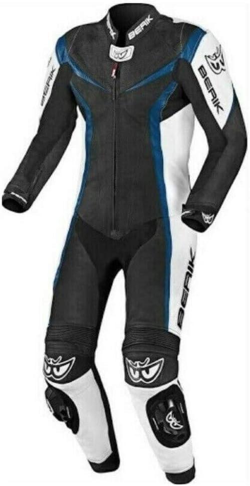 Berik Einteiliger Motorrad-Lederkombi f/ür Biker blau, UK 40 EU 50