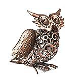 Solar Light Outdoor/Garden Decorative Bronze Metal Silhouette Animal- BroGarden Cute Owl Non-Knockdown Figurine Decor