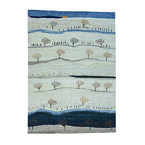 Shahbanu Rugs Hand-Knotted Modern Folk Art Gabbeh Persian Wool Oriental Rug (9'9