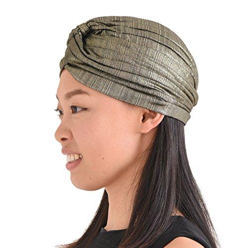 CHARM Casualbox | Metallic Twist Turban Hat Headwrap Arabian Indian Fashion Boho Festival Chemo Hat Gold -