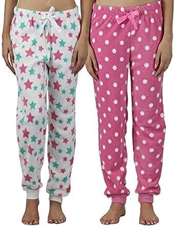Pack 2 mujer pantalones de andar por casa Pijamas De Forro Polar Pantalones Pijama Pantalones