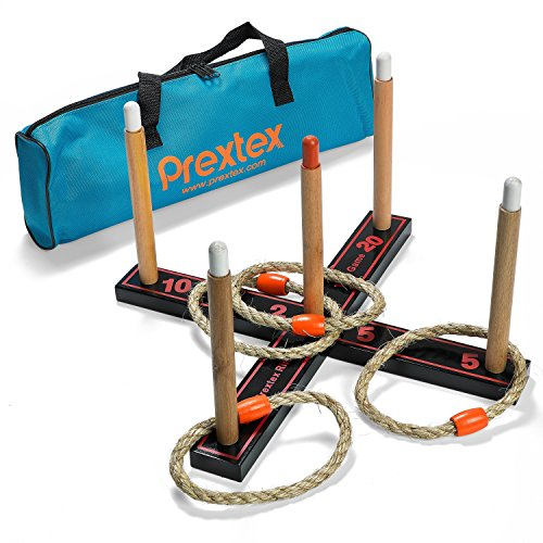 Prextex Professional Style Wooden Ring Toss Game with Carry-Along Case