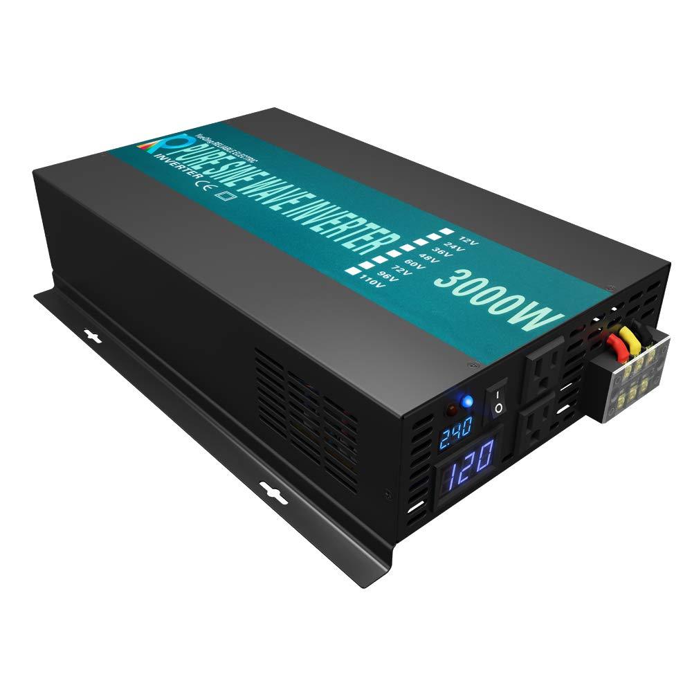 Reliable 3000W Solar Power Inverter Off Grid 24V DC Voltage Converter LED Display Pure Sine Wave Inverter Dual 120V AC Outlets by WZRELB
