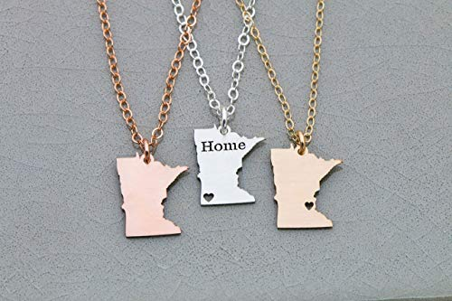 - Minnesota State Necklace - IBD - Personalize with Name or Coordinates – Choose Chain Length – Pendant Size Options - Ships in 1 Business Day - 935 Sterling Silver 14K Rose Gold Filled Charm