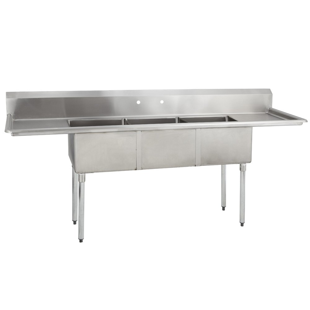 Fenix Sol 18G-3C15X15-215 Three Compartment Stainless Steel Sink, Bowl: 15''L x 15''W x 12''D, Overall Size: 75''L x 20.8''W x 43''H, 2 x 15'' Drainboards, Galv Legs