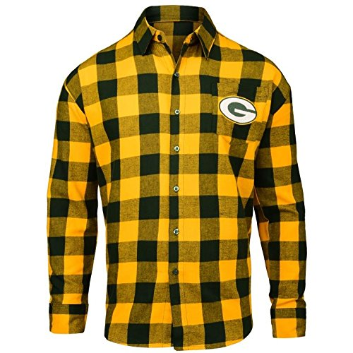 FOCO Green Bay Packers Large Check Flannel Shirt - Mens Medium by FOCO