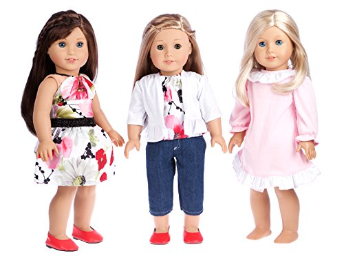 - Dressy Play Set - Clothes Fits 18 Inch American Girl Doll - 6 Piece - 3 Full Mix and Match Outfits - Jeans Capris, Blouse, Skirt, Cardigan, Nightgown and Red Shoes (Dolls Not Included)