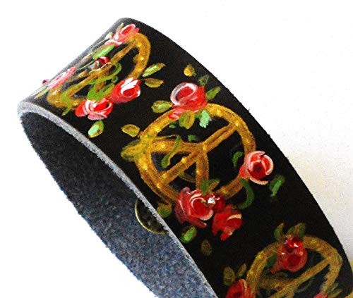 Hand Painted Black Leather Bohemian Hippie Cuff Peace Sign Bracelet Boho Jewelry for Women Teen Girls