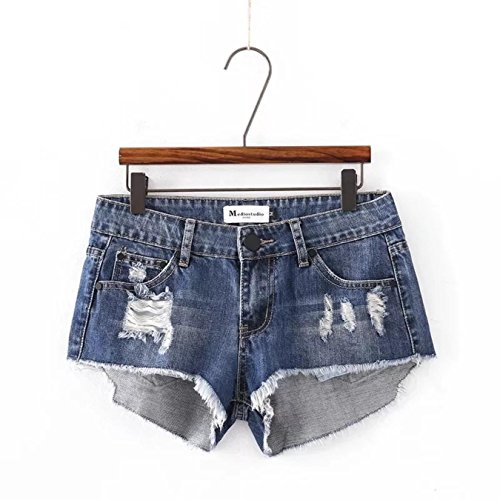 EAkuDQIC Womens Fashion High Waist Irregular Tassel Denim Shorts