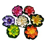 7PCS Set Artificial EVA Lotus Floating Water Lily Blooming Mini Foam Flower Head Pool Fish Tank Pond Home Garden Decoration (30cm)
