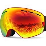 ZIONOR X Ski Snowboard Snow Goggles OTG Design for Men Women with Spherical Detachable Lens UV Protection Anti-Fog (VLT 21% Red Frame Revo Red Lens)