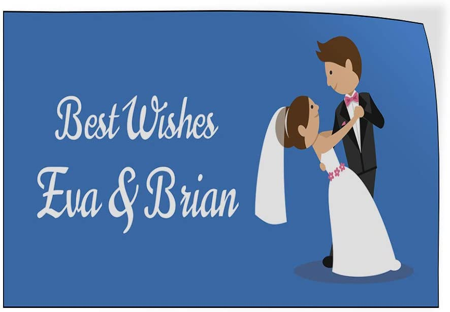 Custom Door Decals Vinyl Stickers Multiple Sizes Best Wishes B Wedding Groom Bride Lifestyle Wedding Outdoor Luggage /& Bumper Stickers for Cars Blue 40X26Inches Set of 2