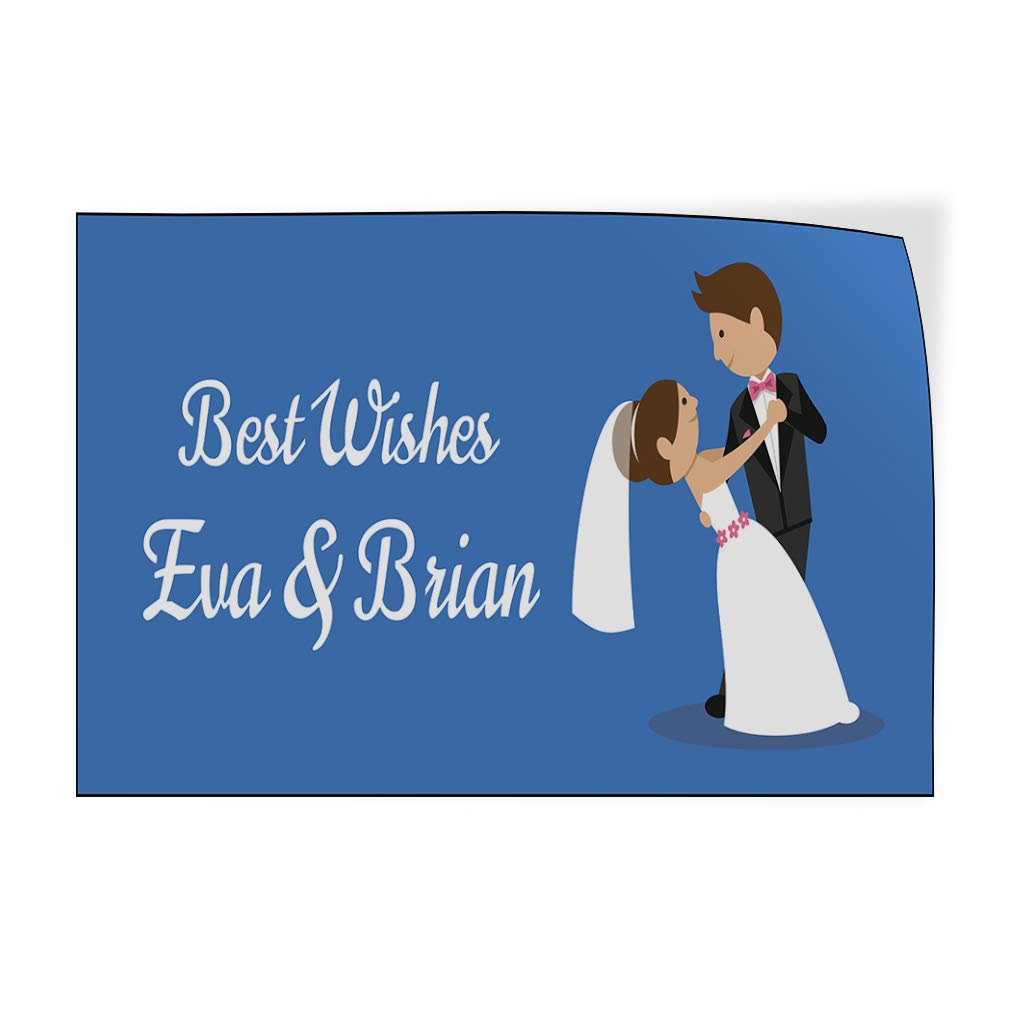 Custom Door Decals Vinyl Stickers Multiple Sizes Best Wishes B Wedding Groom Bride Lifestyle Wedding Outdoor Luggage /& Bumper Stickers for Cars Blue 54X36Inches Set of 5