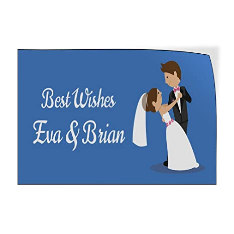 Custom Door Decals Vinyl Stickers Multiple Sizes Best Wishes Brown Lifestyle Wedding Outdoor Luggage /& Bumper Stickers for Cars Red 69X46Inches Set of 2