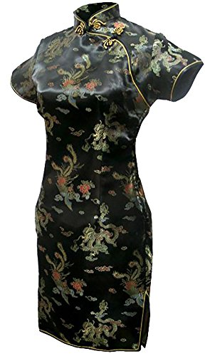 7Fairy Women's Vtg Black Mini Chinese Evening Prom Dress Cheongsam Size 4 US by 7Fairy