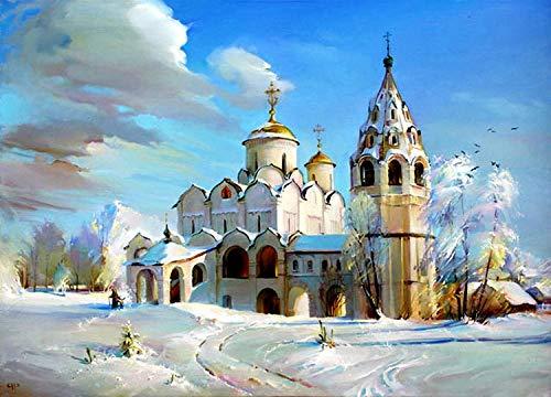 (Zimal Diamond Painting Cross Stitch Rhinestone Mosaic Picture Home Decor Diamond Embroidery Winter Snow Russian Church 11.8 x 15.8 Inch)